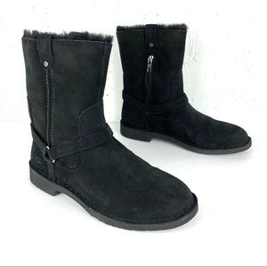 UGG Aveline Water Repellent Wool Lined Sheepskin Harness Boots Black Size 8.5
